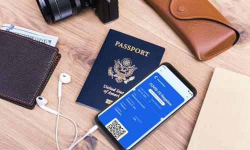 The CommonPass app was designed to look like a boarding pass.